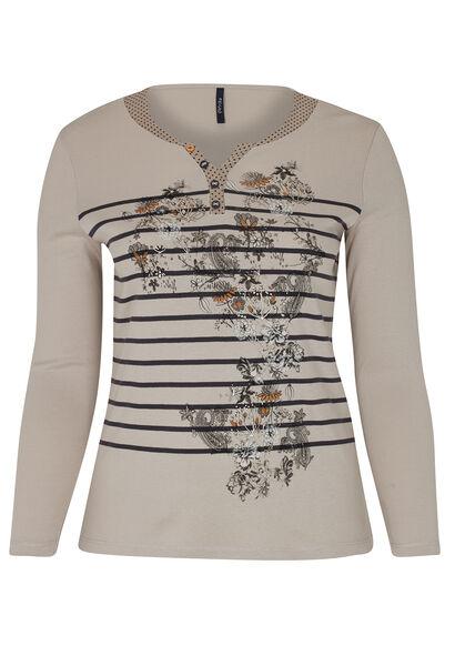 T-shirt print lignes et fleurs - Beige