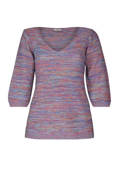 Gestreifter Pullover mit 3/4-Ärmeln - multicolor