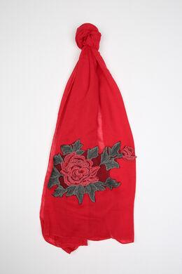 Foulard brodé d'une grande fleur, Rouge