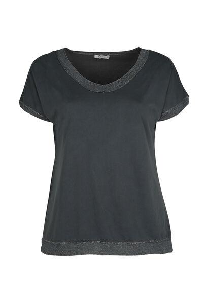T-shirt encolure bord en lurex - Anthracite