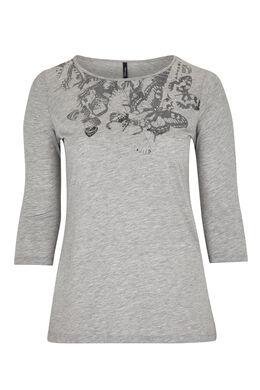T-shirt en coton avec print papillons, Gris Chine