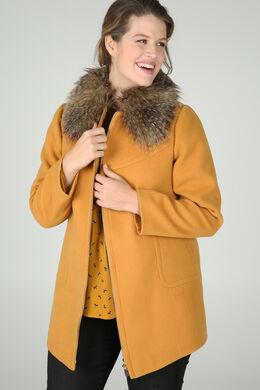 Manteau col en fausse fourrure, Ocre