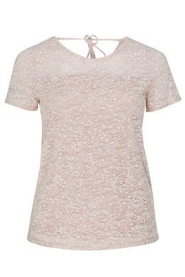 T-shirt en maille de dentelle et imprimé fleuri, Rose