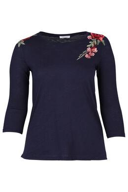 T-shirt brodé de fleurs, Indigo