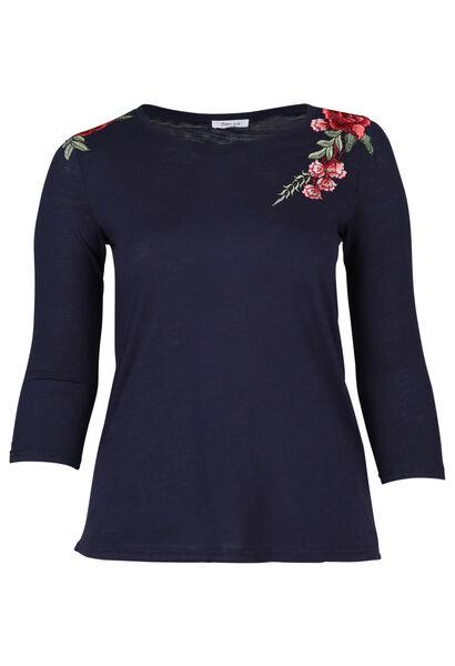 T-shirt brodé de fleurs - Indigo