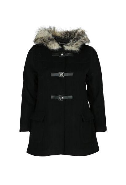 Manteau avec capuche en fausse fourrure - Noir