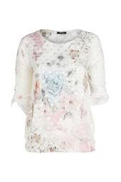 T-shirt imprimé fleuri et papillons