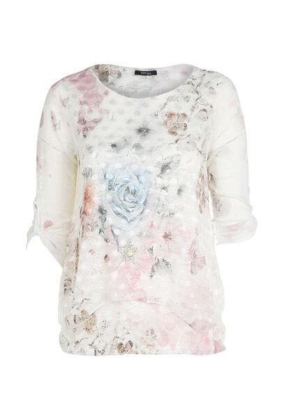 T-shirt imprimé fleuri et papillons - Blush