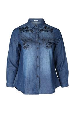 Chemisier en jeans brodé, Denim