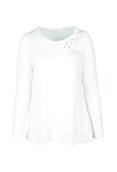T-shirt détail de fleurs à l'encolure - Ecru