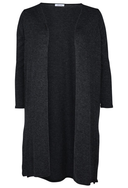 Long cardigan en maille chaude - Anthracite