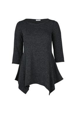 T-shirt tunique en maille chaude, Anthracite