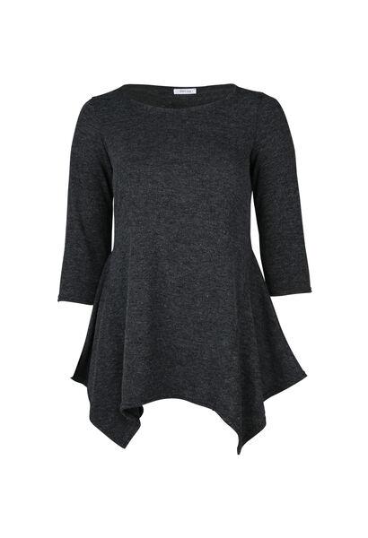 T-shirt tunique en maille chaude - Anthracite