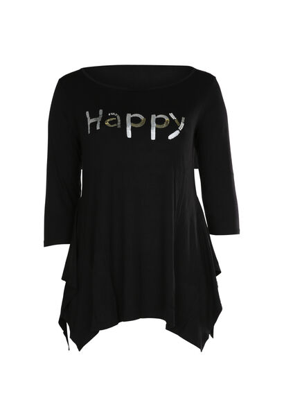 "T-shirt ""Happy"" en sequins et perles - Noir"