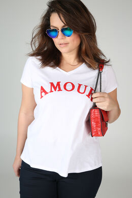 """T-shirt print """"amour"""", Rouge"""