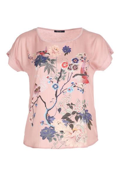 T-shirt satiné imprimé japonisant - Blush
