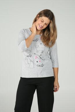 T-shirt imprimé chats, Gris Chine