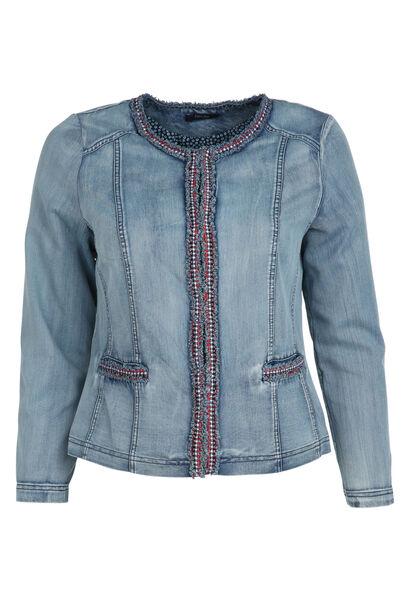 Veste en jeans ornée d'un galon - Denim