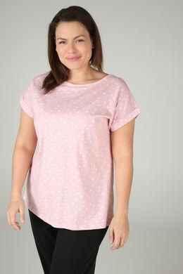 T-shirt de nuit imprimé de cœurs, Rose