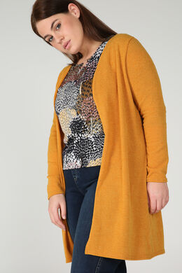 Long gilet maille chaude, Ocre