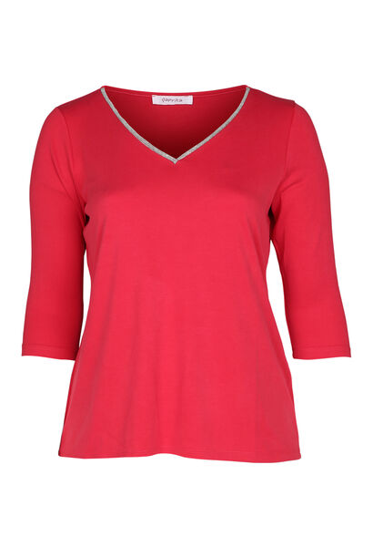 T-shirt encolure col bijou - Rouge