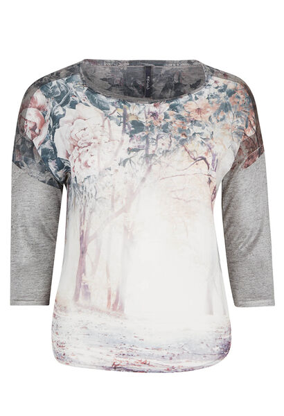 T-shirt photoprint et maille chinée - Prune