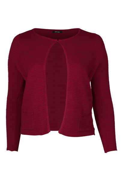 Cardigan tricoté en côte - Bordeaux