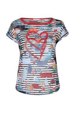T-shirt en maille lin imprimé rayures, multicolor