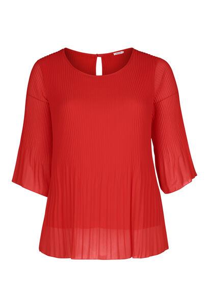 Blouse en voile plissé - Rouge