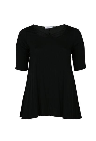T-shirt en maille viscose encolure croisée - Noir