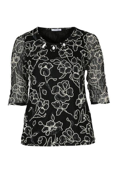 T-shirt en dentelle imprimée - Noir