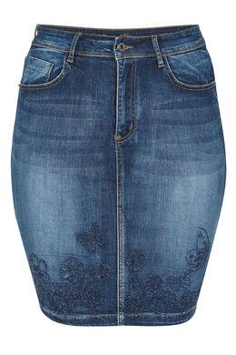Jupe jeans broderies de fleurs et strass, Denim