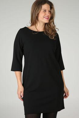 Robe en crêpe unie, Noir