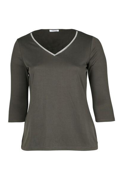 T-shirt encolure col bijou - Kaki
