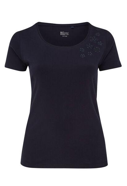 T-shirt en coton biologique brodé - Marine