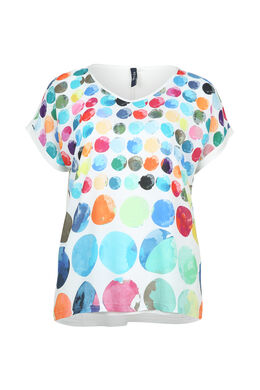 T-shirt imprimé de ronds couleurs, multicolor