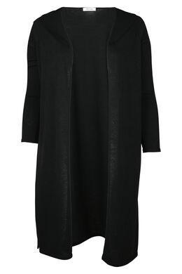 Long cardigan en maille chaude, Noir