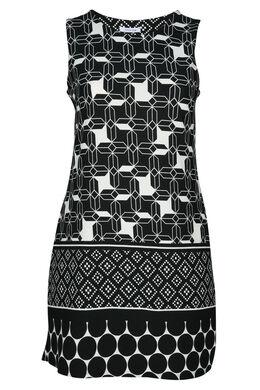 Robe imprimé graphique, Noir/Ecru