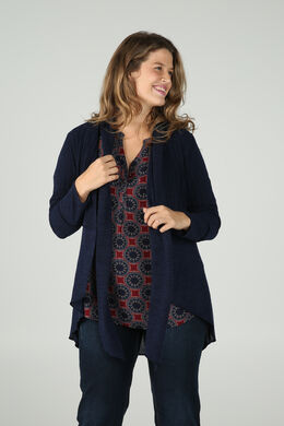 Long cardigan maille chaude, Marine