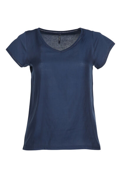 T-shirt bi-matières - Marine