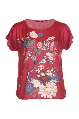 T-shirt satiné imprimé japonisant, Bordeaux