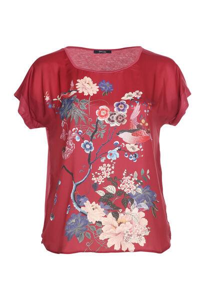 T-shirt satiné imprimé japonisant - Bordeaux