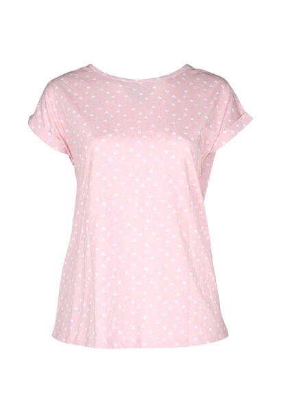 T-shirt de nuit imprimé de cœurs - Rose