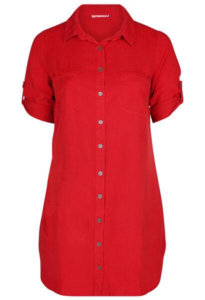 Robe col chemise en lyocel - Rouge