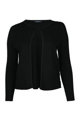 Cardigan tricoté en côte, Noir