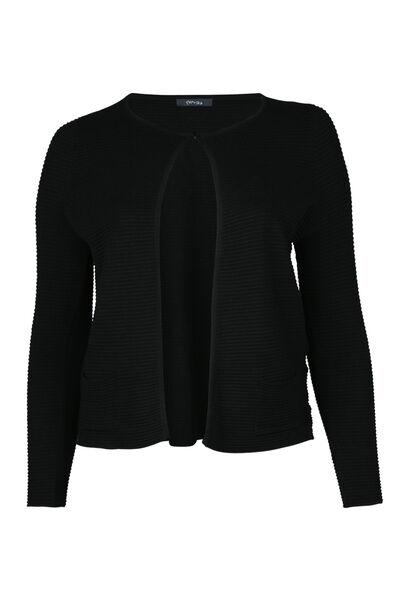 Cardigan tricoté en côte - Noir