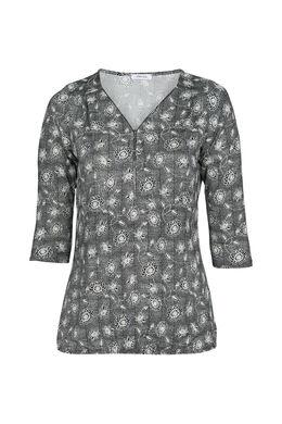 T-shirt imprimé petites fleurs, Noir