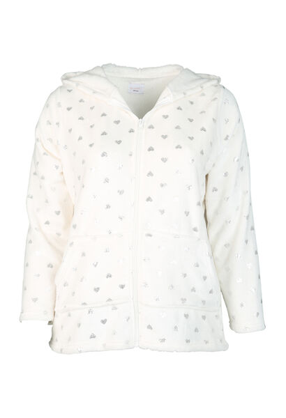 Veste homewear imprimée de coeurs - Ecru