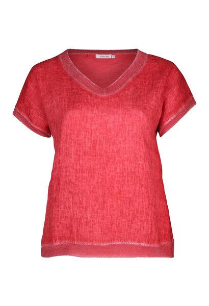 T-shirt devant lin dos en maille - Orange
