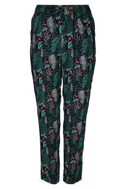 Pantalon en fibranne imprimé feuilles et flamands roses, Vert
